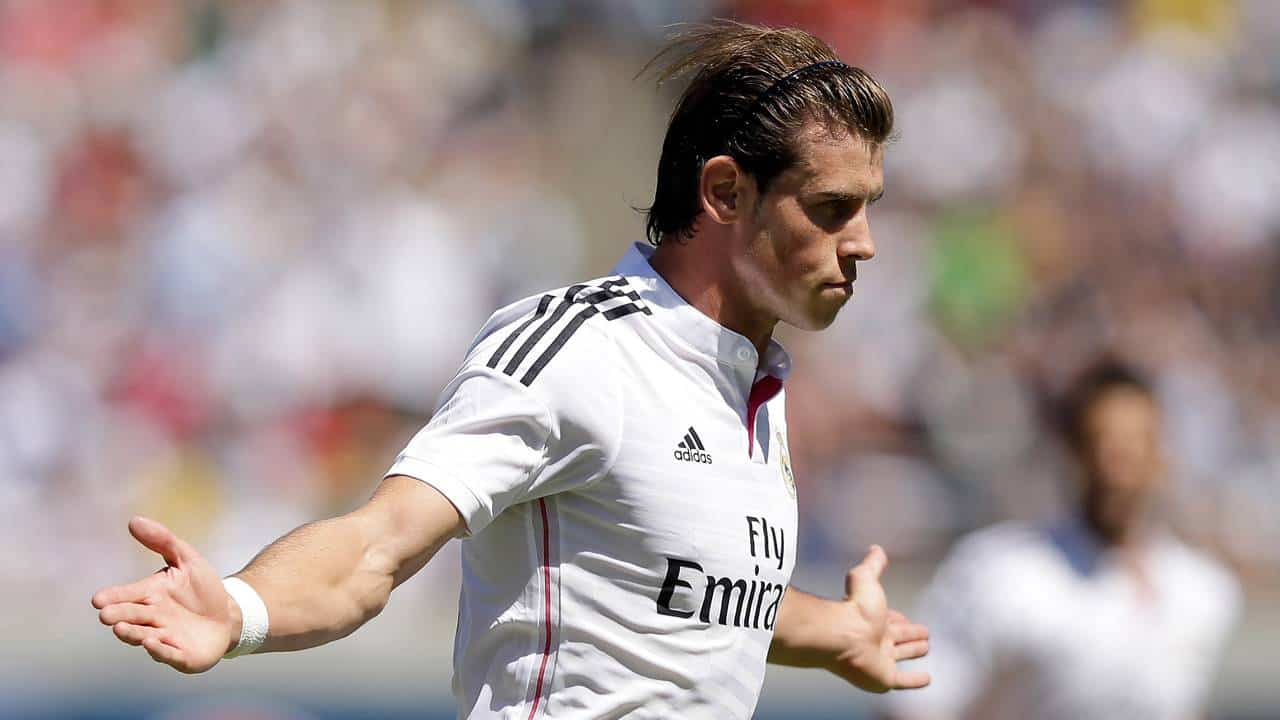 BERKELEY, CA - JULY 26:  Gareth Bale #11 of Real Madrid celebrates after he scored a goal in the first half of their match against FC Internazionale in the International Champions Cup 2014 at California Memorial Stadium on July 26, 2014 in Berkeley, California.  (Photo by Ezra Shaw/Getty Images)