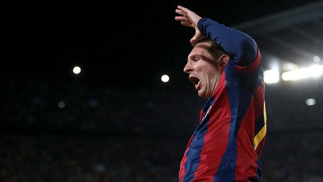 Barcelona's Lionel Messi celebrates scoring their second goal of the game