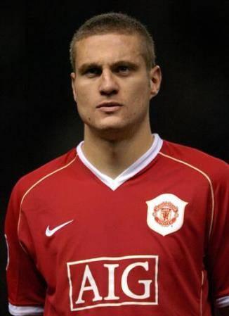 Manchester United's Nemanja Vidic in the line up before kick off