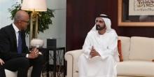 لقاء يجمع بين محمد بن راشد والرئيس التنفيذي لمايكروسوفت