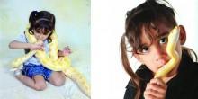 بالصور: أصغر طفلة سعودية تروض أضخم الأفاعي