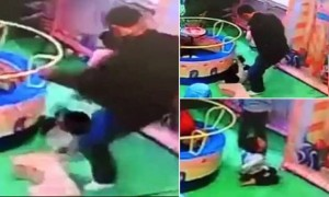 "Pic shows: the man kicking the boy.nnA Chinese father has been arrested after he kicked a boy in the back for pushing his daughter to the floor in a shopping centre playground.nnThe dad later denied dishing out the harsh punishment, but surveillance cameras proved otherwise.nnFootage of the shopping mall playground shows several children playing together when one boy accidentally pushes a young girl to the floor.nnThe girl¿s father, identified later by his surname Li, angrily reacts to the boy¿s clumsiness by viciously kicking the child in the spine, leaving the him wincing in pain and crying.nnThe angry dad then calmly sits back down after avenging his daughter, and even argues with the boy¿s father, claiming that he did not kick the child.nnBut the video, shot in the city of Dongying in east China¿s Shandong Province, quickly went viral, with netizens demanding to see the violent dad punished.nnHis identified was later discovered after netizens conducted an online ""human flesh search"", and contacted police with the video evidence.nnThe Dongying City Public Security Bureau later announced on its official social media account that Li had been found and detained, and an investigation into his actions was now under way.nn(ends)n"