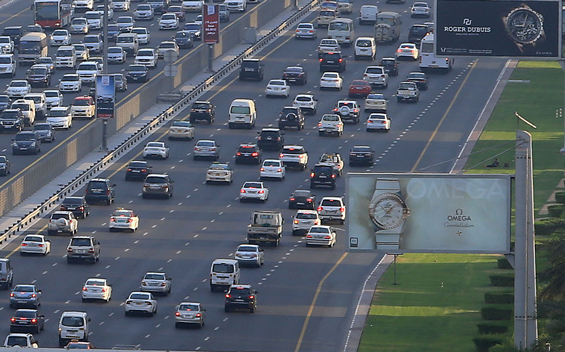 General views of traffic along Sheikh Zayed road during rush hour in Dubaii . June 26, 2014. Photo by Patrick Castillo