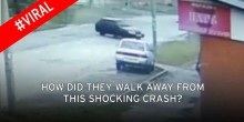بالفيديو: ينجوان بأعجوبة من حادث تحطم سيارة