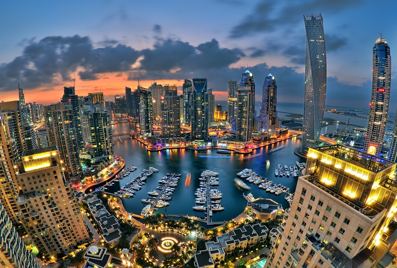 DUBAI, UAE - JANUARY 10: Beautiful aerial view of Dubai Marina just after the sunset in Dubai January 10, 2014