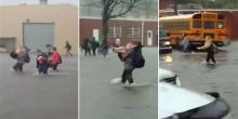 بالفيديو: طلاب يسبحون للوصول إلى حافلاتهم