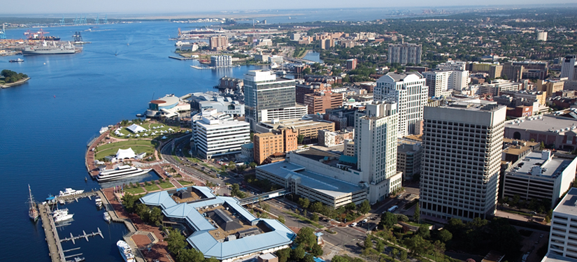 Norfolk CVB skyline Banner Sized Aerial