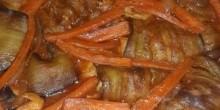 أكلات رمضانية: مسقعة باذنجان بشرائح الدجاج و البصل والجزر