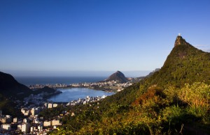 RIO DE JANEIRO, BRAZIL - 2011/09/26: Tijuca Forest and Christ the Redeemer, Rio de Janeiro, Brazil -  Rodrigo de Freitas Lagoon in background. (Photo by Flavio Veloso/Brazil Photos/LightRocket via Getty Images)