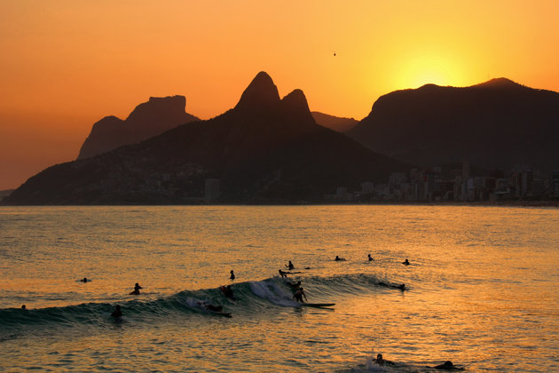 """Stunning sunset at Rio de Janeiro. A classical """"Dois Irm?os"""" Rock mountains at background"""