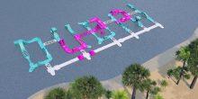 حديقة مائية مطاطية في دبي على هيئة الشعار الرسمي