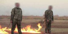 بالفيديو | داعش تحرق جنديين تركيين