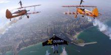 """بالفيديو : """"jetman dubai"""" و """"breitling wingwalkers"""" يجتمعان معا في  أول استعراض من نوعه في سماء دبي"""
