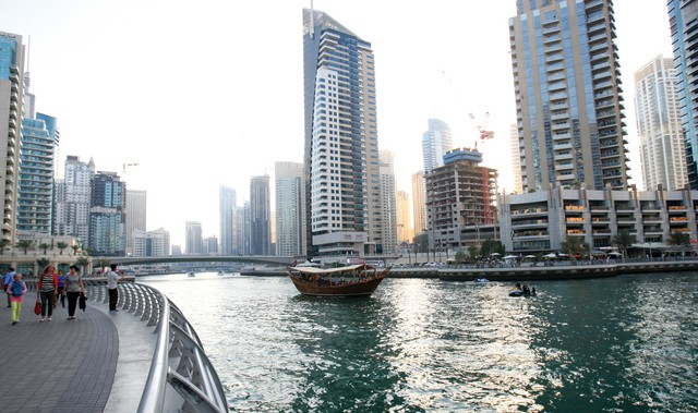 General view of Dubai Marina. March 28, 2013. Photo by Xavier Wilson