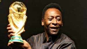 Brazilian soccerstar Pele displays the FIFA World Cup during its presentation in Rio de Janeiro in February 2010. Pele's World Cup winner's medals from 1958, 1962 and 1970 are up for auction