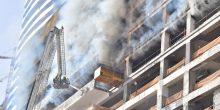 الدفاع المدني ينقذ 3 عمال محاصرين بالنيران في برج فاونتن فيو