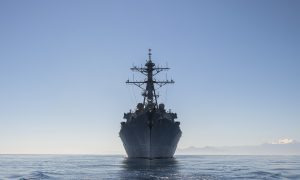 150504-N-FQ994-662  MEDITERRANEAN SEA (May 4, 2015) The guided-missile destroyer USS Ross (DDG 71) transits the Mediterranean Sea. Ross is conducting naval operations in the U.S. 6th Fleet area of operations in support of U.S. national security interests in Europe. (U.S. Navy photo by Mass Communication Specialist 3rd Class Robert S. Price/Released)