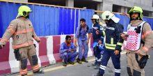 الدفاع المدني | إنقاذ ثلاثة عمال حاصرتهم النيران في برج فاونتن فيو
